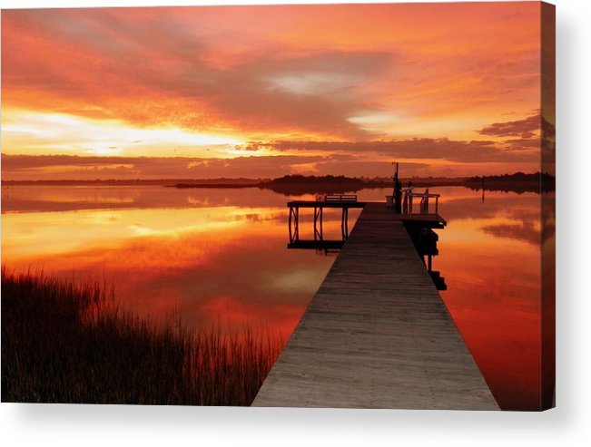 Orange Waterscapes Acrylic Print featuring the photograph Dawn Of New Year by Karen Wiles
