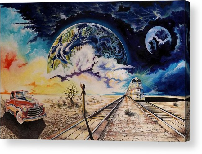 Automotive Painting Acrylic Print featuring the mixed media Dead Tree Junction by David Neace
