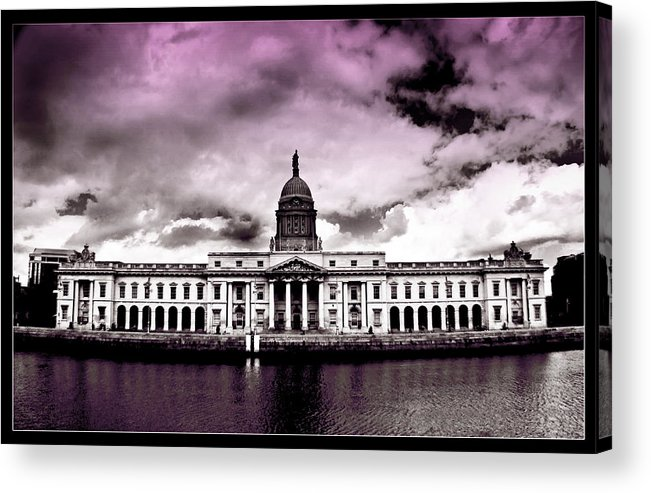 The Custom House Acrylic Print featuring the painting Dublin - The Custom House - Lilac by Alex Art and Photo