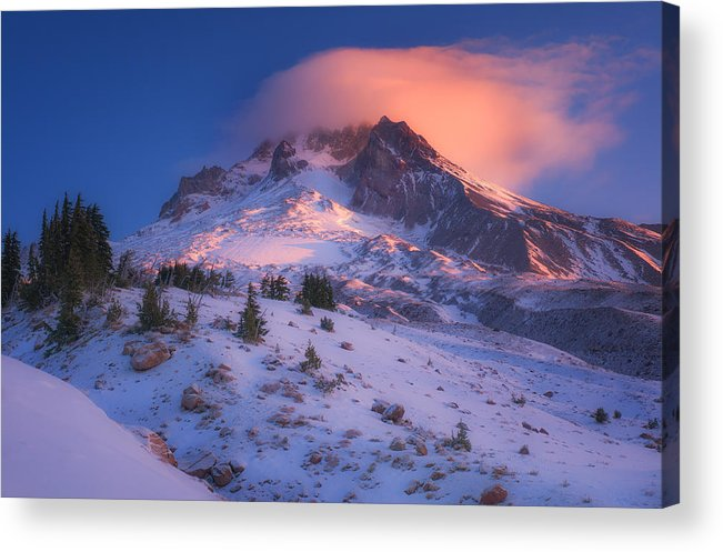 Mount Hood Acrylic Print featuring the photograph Fire Cap by Darren White
