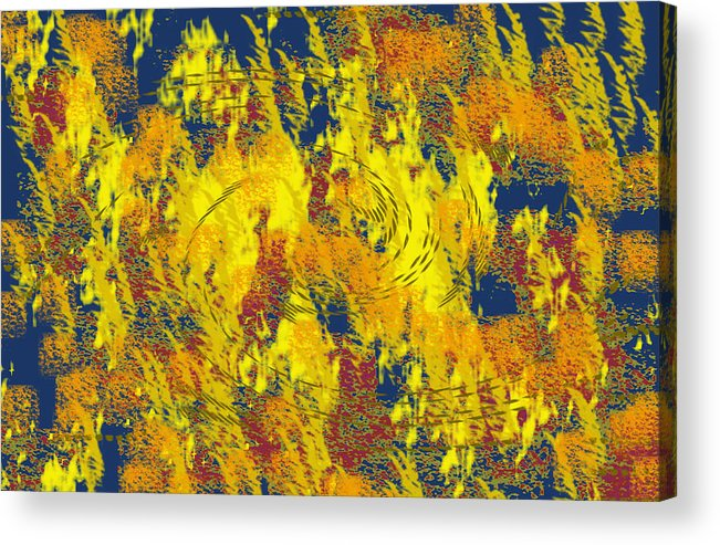 Abstract Acrylic Print featuring the digital art Forest Fire by John Saunders
