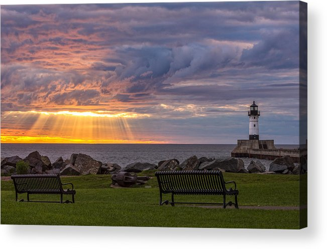 front Row Seats lake Superior canal Park canal Park Lighthouse duluth north Shore Sunrise Dawn Rays god Rays Clouds Benches Lighthouse great Lake Sunset Sunrays Magic Nature Summer perfect Duluth Day mary Amerman Acrylic Print featuring the photograph Front Row Seats by Mary Amerman