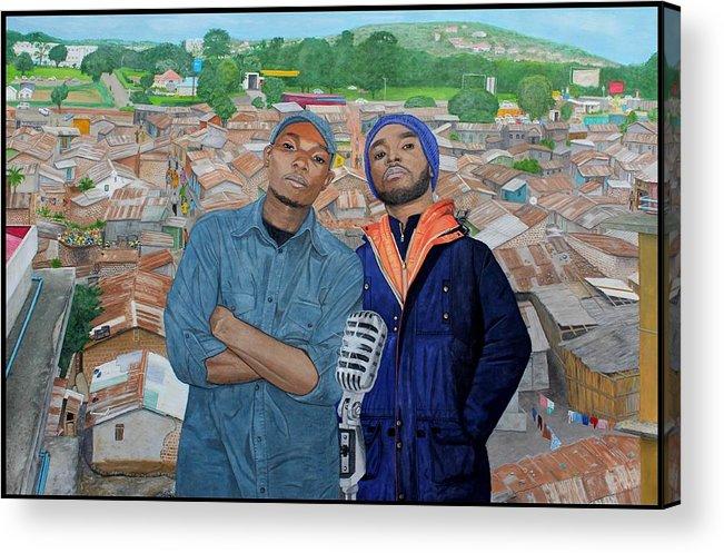 Hip Hop Acrylic Print featuring the painting Ghetto Voice by Daniel Kisekka