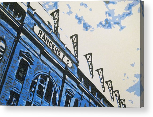 Glasgow Rangers Fc Acrylic Print featuring the painting Glasgow Rangers Fc - Ibrox Park by Geo Thomson