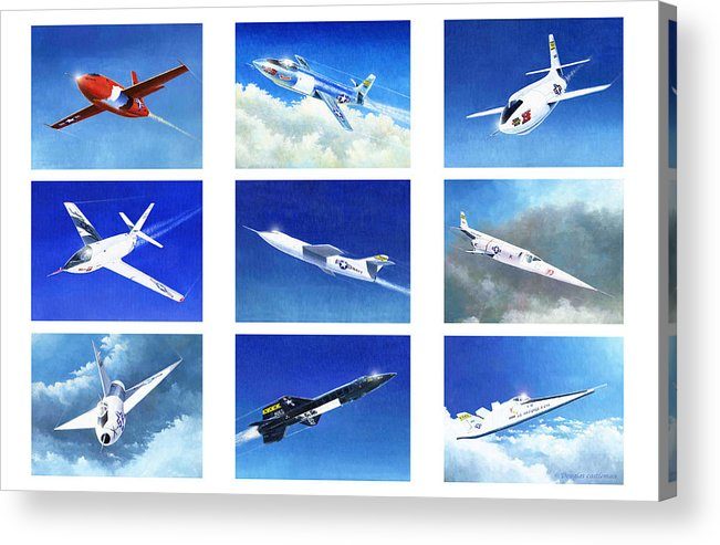 Airplane Acrylic Print featuring the painting Golden Age Of Test Flight by Douglas Castleman