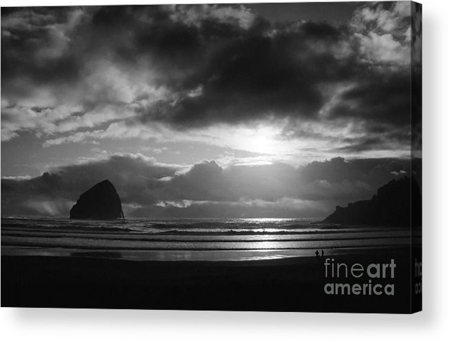 Seascape Acrylic Print featuring the photograph Golden Sunset Bw by Earl Johnson