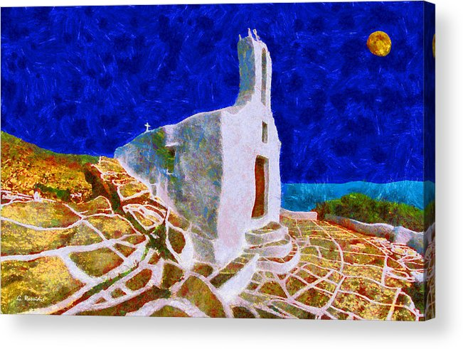 Rossidis Acrylic Print featuring the painting Greek Church 5 by George Rossidis