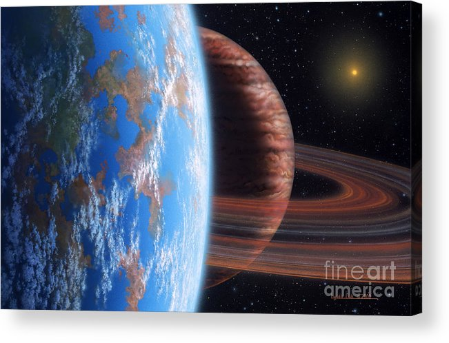 lynette Cook Acrylic Print featuring the painting Hd 177830 B And Moon by Lynette Cook