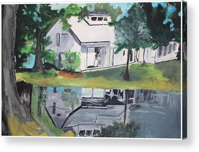 Landscape Acrylic Print featuring the painting House With Lush Green Surroundings by Pallavi Sharma