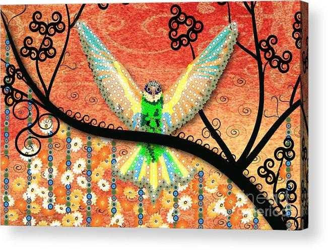 Rainbow Bird Acrylic Print featuring the digital art Hummer Love by Kim Prowse