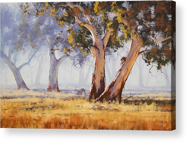 Eucalyptus Trees Acrylic Print featuring the painting Kangaroo Grazing by Graham Gercken