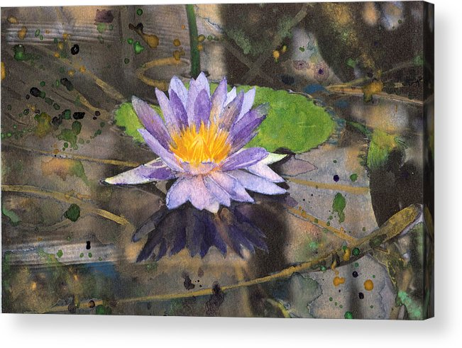 Nympheas Acrylic Print featuring the painting Lily Pad With Purple Flower by Susan Powell