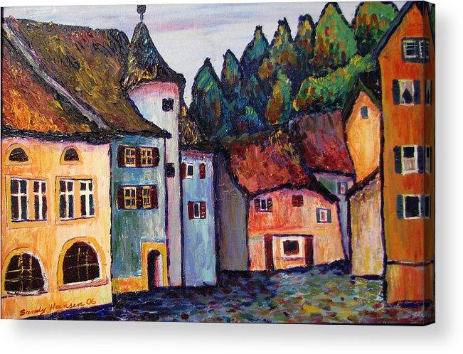 Medieval Acrylic Print featuring the painting Medieval Village Of St. Ursanne Switzerland by Art Nomad Sandra Hansen