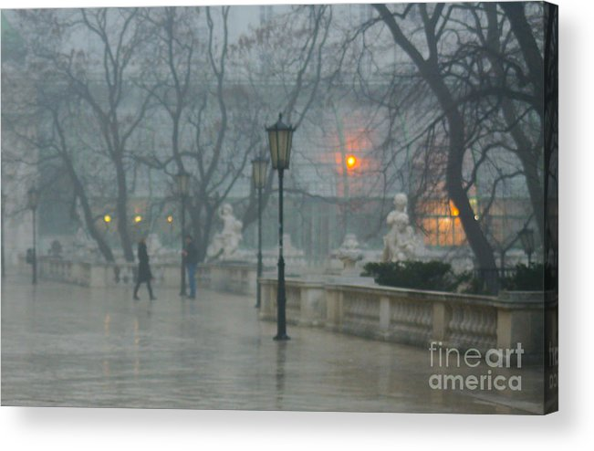 Impressionist Acrylic Print featuring the photograph Meeting In The Rain by Carol Weitz