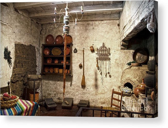 Junipero Serra Acrylic Print featuring the photograph Old Kitchen In Carmel Mission by RicardMN Photography
