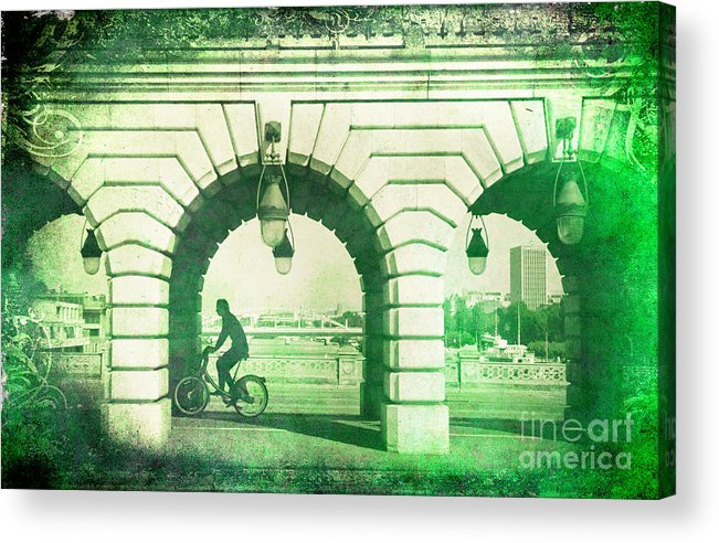 Paris Acrylic Print featuring the photograph Parisien Cyclist by Michelle Orai