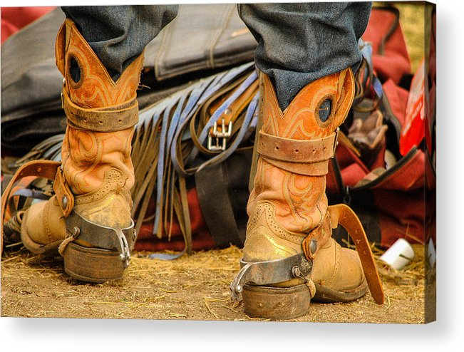 Boot Acrylic Print featuring the photograph Rodeo Cowboy Tools Of The Trade by Miki Finn