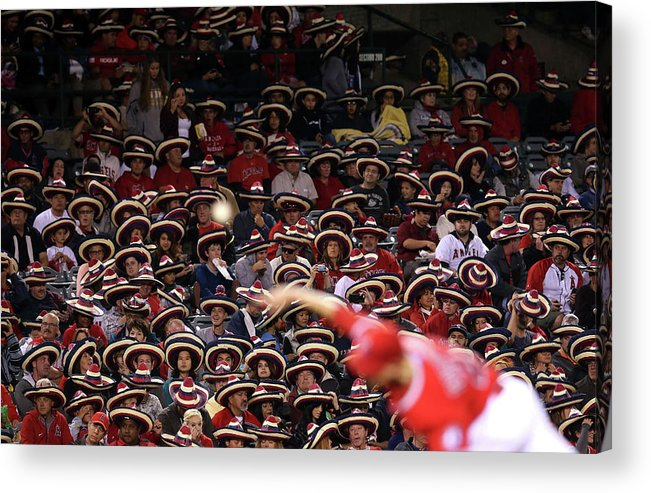 American League Baseball Acrylic Print featuring the photograph Seattle Mariners V Los Angeles Angels by Stephen Dunn