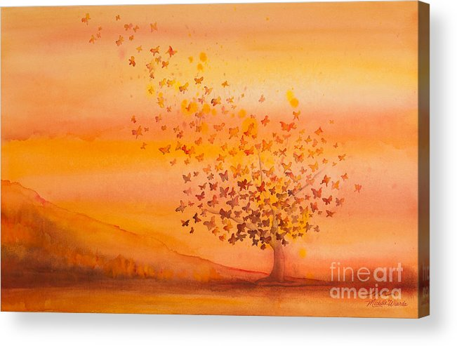 Butterfly Acrylic Print featuring the painting Soul Freedom Watercolor Painting by Michelle Wiarda-Constantine