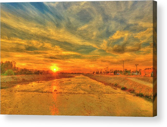 Sunset Acrylic Print featuring the painting Stormy Sunset Over Santa Ana River by Angela Stanton