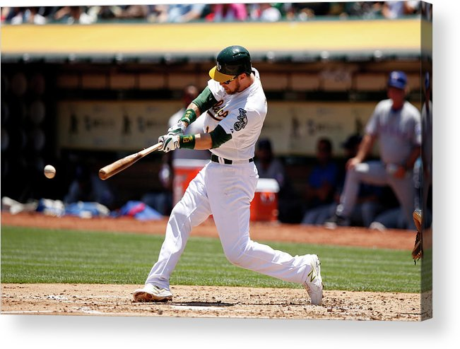 People Acrylic Print featuring the photograph Texas Rangers V Oakland Athletics by Ezra Shaw