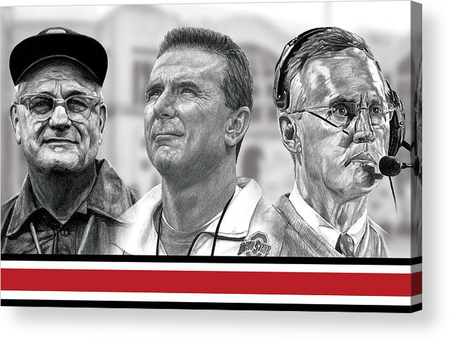 Ohio State Buckeyes Acrylic Print featuring the digital art The Coaches by Bobby Shaw