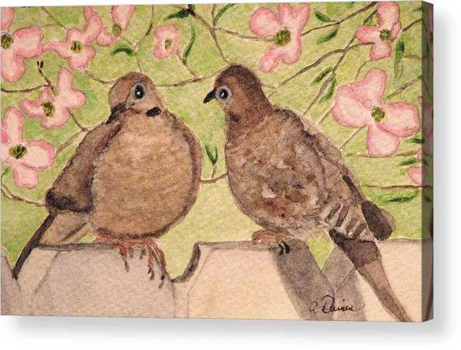 Mourning Doves Acrylic Print featuring the painting The Courtship by Angela Davies