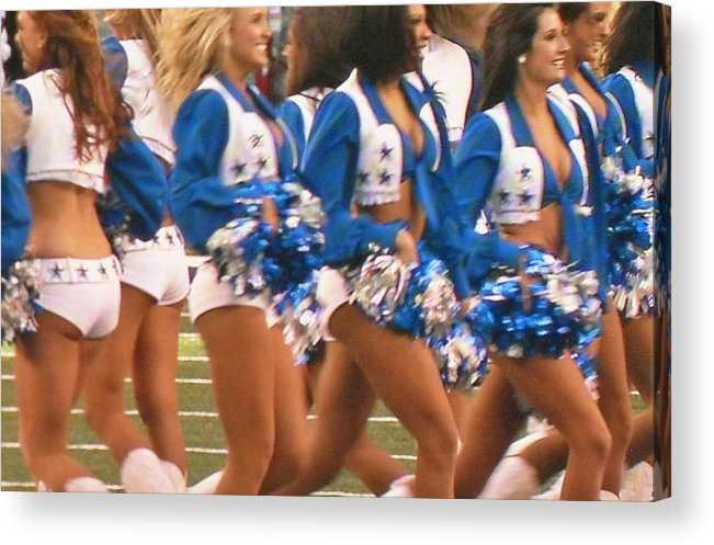 The Dallas Cowboys Cheerleaders Acrylic Print featuring the photograph The Dallas Cowboys Cheerleaders by Donna Wilson
