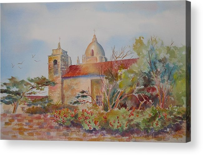 John Svenson Acrylic Print featuring the painting The Mission At Carmel by John Svenson