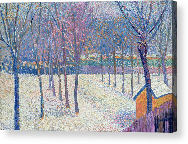 Pointillist Acrylic Print featuring the painting The Orchard Under The Snow by Hippolyte Petitjean