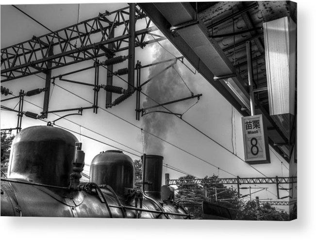 Train At Miaoli Station Acrylic Print featuring the photograph Train At Miaoli Station by Dewa Wirabuwana