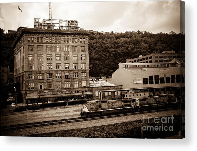 Allegheny County Acrylic Print featuring the photograph Train Passes Station Square Pittsburgh Antique Look by Amy Cicconi