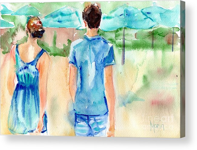 Beach Art Acrylic Print featuring the painting Travel The World by Maria Reichert
