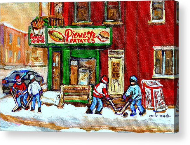 Verdun Acrylic Print featuring the painting Verdun Hockey Game Corner Landmark Restaurant Depanneur Pierrette Patate Winter Montreal City Scen by Carole Spandau