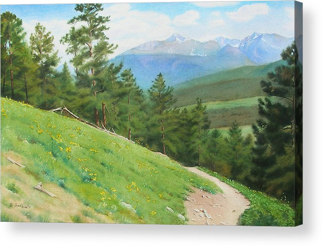 Rocky Mountain National Park Acrylic Print featuring the painting View From Deer Mountain by Daniel Dayley