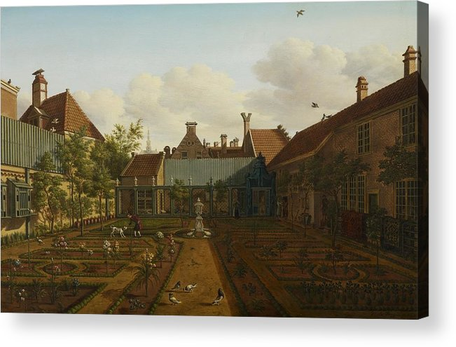 Garden Acrylic Print featuring the painting View Of A Town House Garden In The Hague by Paulus Constantin La Fargue
