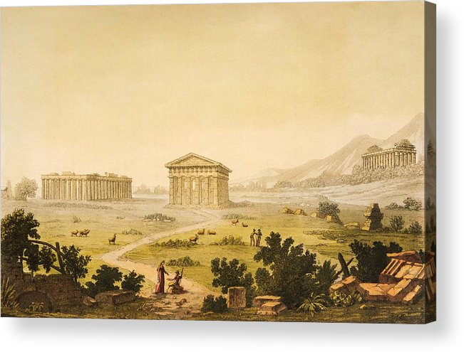 Art; Europe; Italy; Campania; Capaccio; Paestum; Centuries; 19th; View Of Temples In Paestum At Syracuse Acrylic Print featuring the painting View Of Temples In Paestum At Syracuse by Giulio Ferrario