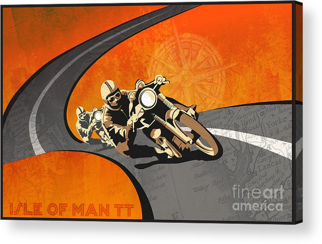 Vintage Motor Racing Acrylic Print featuring the painting Vintage Motor Racing by Sassan Filsoof