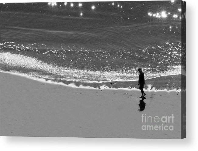 Man Walking On Beach Acrylic Print featuring the photograph Walking With God by Artist and Photographer Laura Wrede