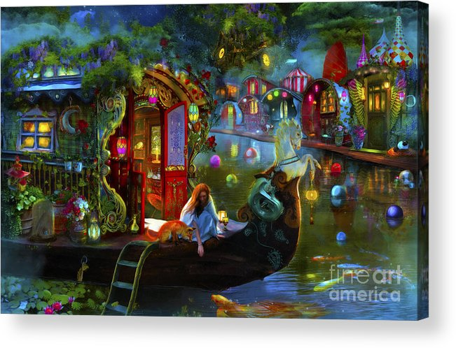 Fantasy Acrylic Print featuring the digital art Wanderer's Cove by MGL Meiklejohn Graphics Licensing