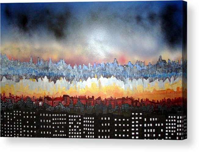 Acrylic Print featuring the painting City Never Sleeps by Robert Handler