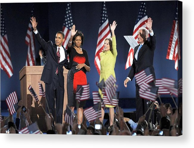 Barack Obama U.s. Presidential Election Victory Speech And Celebration Acrylic Print featuring the photograph U.s. President Elect Senator Barack by Everett