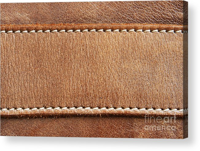 Abstract Acrylic Print featuring the photograph Leather With Stitching by Blink Images