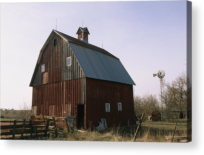 Structures Acrylic Print featuring the photograph A Barn On A Farm In Nebraka by Joel Sartore