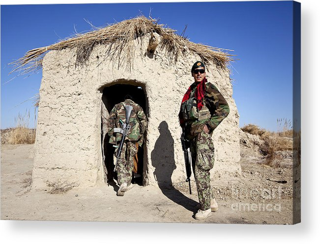 Afghanistan Acrylic Print featuring the photograph Afghan National Army Soldier Holds by Stocktrek Images