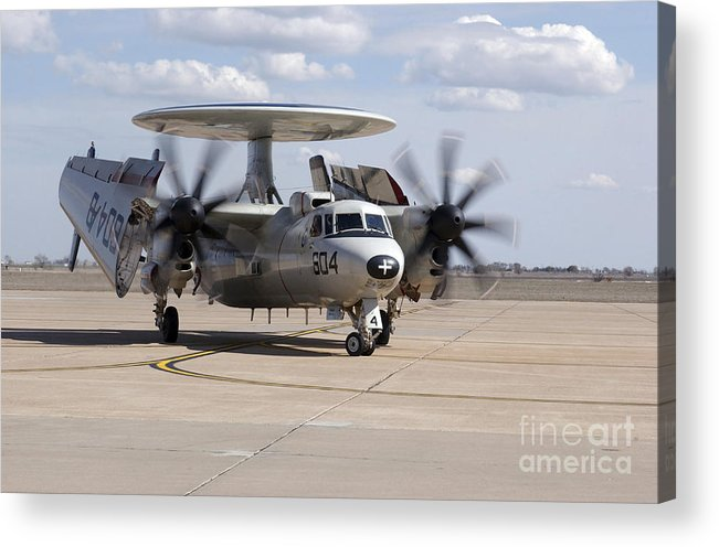 Turning Acrylic Print featuring the photograph An E-2c Hawkeye On The Runway At Cannon by Stocktrek Images