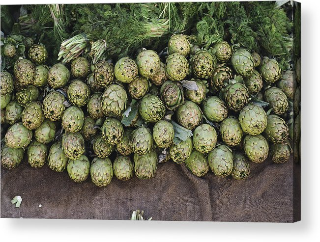 United States Of America Acrylic Print featuring the photograph Artichokes And Greens Arranged by Bill Curtsinger