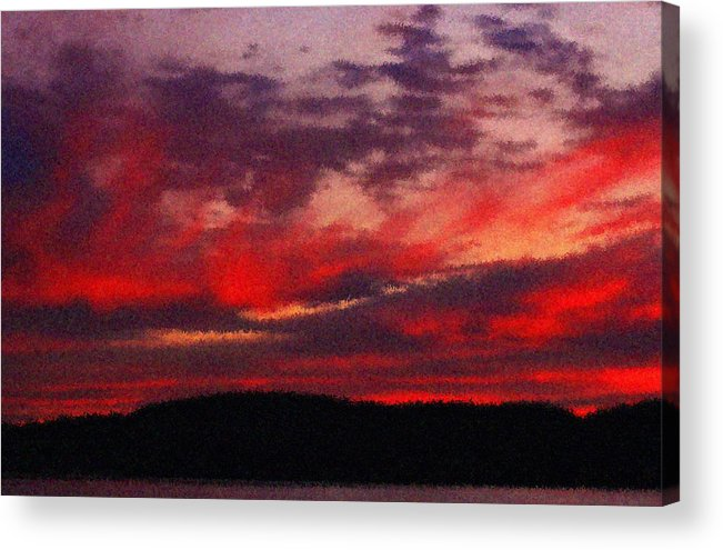 Hudson River Acrylic Print featuring the photograph Artistic Sunset Over Hudson River by Bedford Shore Photography