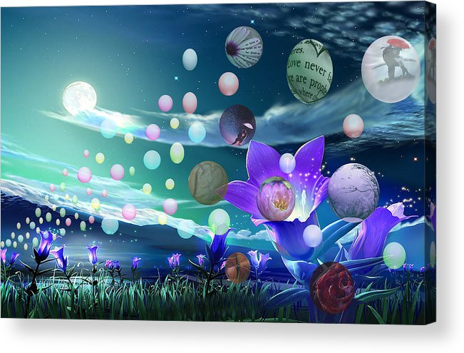 Acrylic Print featuring the digital art Bubbles by Joey Sack