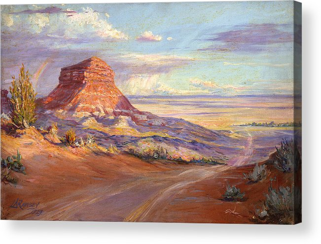Deserts Acrylic Print featuring the painting Edge Of The Desert by Lewis A Ramsey